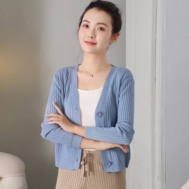 Retro Casual Wild Sweet Elegant Autumn New Hong Kong Style V-neck Solid Color Short Button Knit Cardigan Sweater