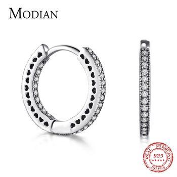 Modian Real 925 Sterling Silver Classic Full Hearts Hoop Earrings Luxury Cubic Zirconia Fashion Jewelry For Women Wedding Gift