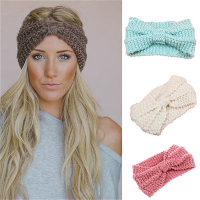 Women Winter Knitted Headband Turban For Lady Girl Bow Crochet Elastic Hair Band Soft Wide Stretch Headwrap Hair Accessories