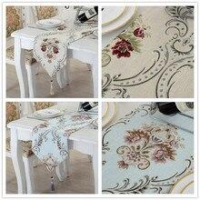 Chenilla Vintage bordada camino de mesa, manteles mesa de centro estilo europeo jardín cama toalla