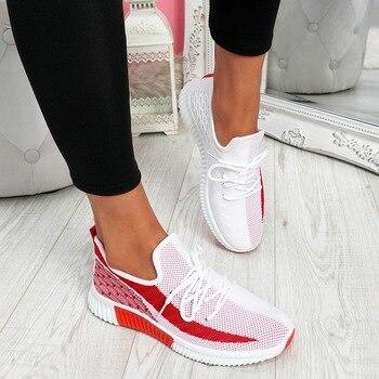 2020 Для женщин с подошвой из вулканизированной женская обувь на шнуровке; Кроссовки из ткани в сеточку обувь круглый носок повседневная прог...