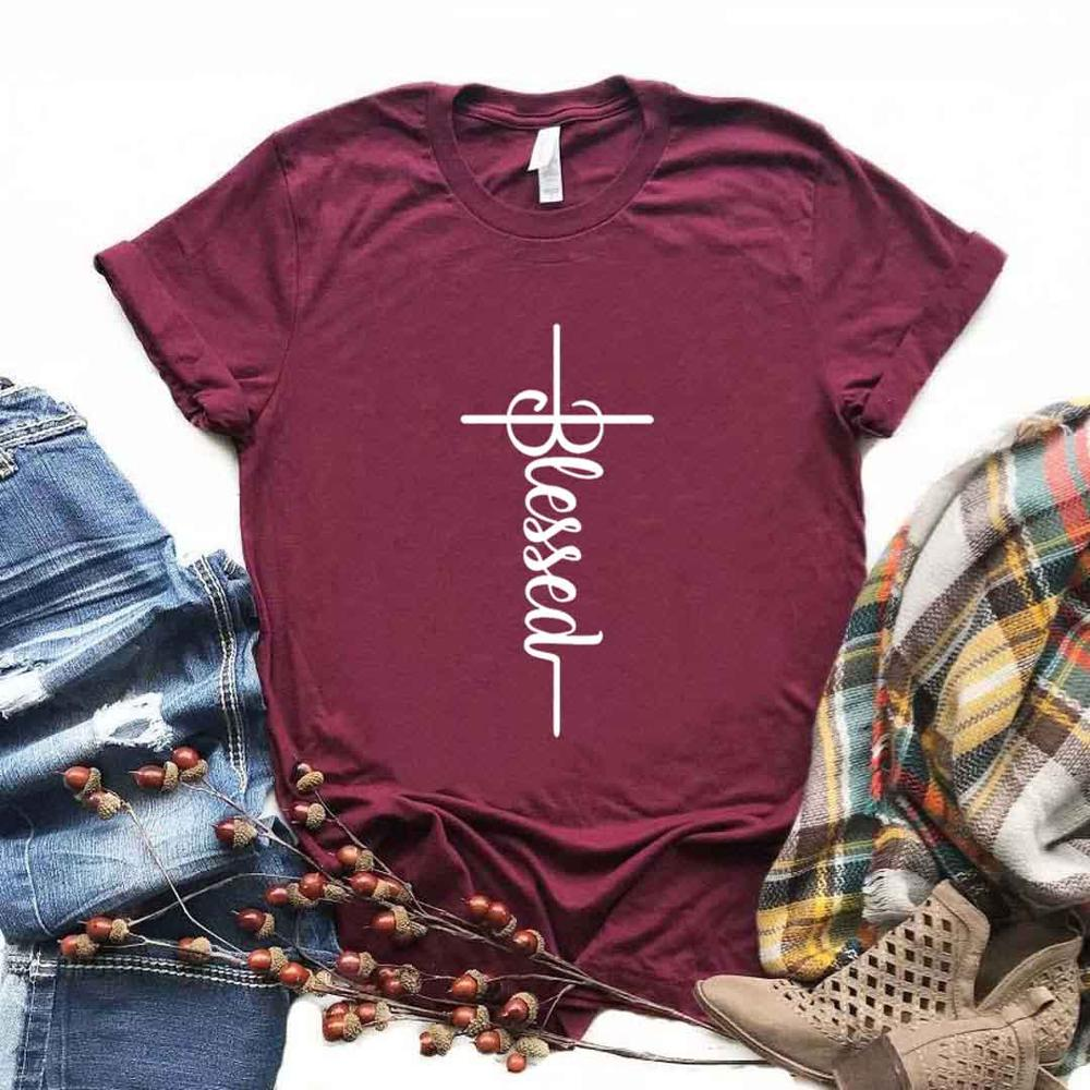 Blessed Cross Print Women Tshirts Cotton Casual Funny T Shirt For Lady  Yong Girl Top Tee Hipster 6 Color NA-901