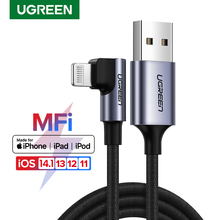 Ugreen cabo usb para iphone 12 mini pro max 2.4a relâmpago carga rápida cabo de dados para iphone x 11 8 cabo do carregador do telefone móvel