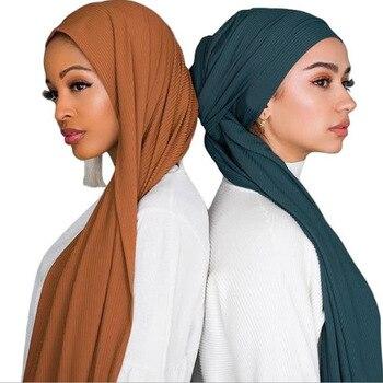 1 Pc Jersey Pleated Wrinkle Hijab Scarf Cotton Plain Elasticity Shawls Crinkle Hijab Long Muslim