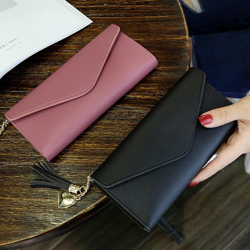 Walet For Women Hasp Envelope Portwel Damski Ladies Wallet Tassels Women's Clutch Purse Female Leather Billeteras Para Mujer