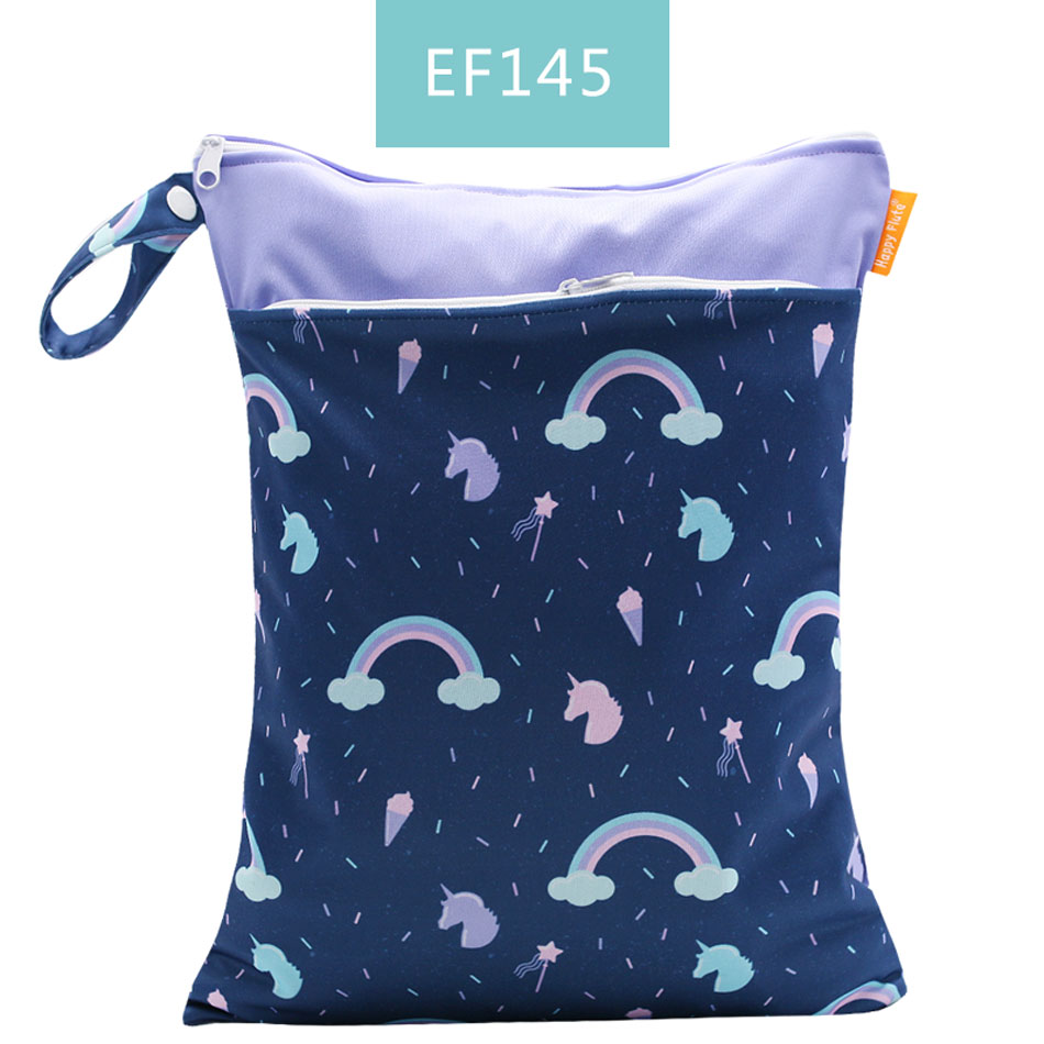 Happy Flute 1 шт. Многоразовые водонепроницаемые модные принты влажная сухая сумка для подгузников двойной карман тканевая Ручка сумки для мокрого плавания 30*40 см - Цвет: ES001-EF145