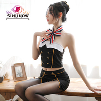 Lingerie Sexy stewardess uniform club Stage outfit Sexy Night Club Costume Women Lingerie Set Exotic Costumes Role Play 4pcs/set