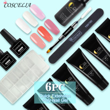 COSCELIA Nail Art Set Manucure 6 PC Poly Kit De Gel Gel De Constructeur De Clou Vernis Vernis Poly Gel Rapide Extension des Ongles Gel Dur(China)