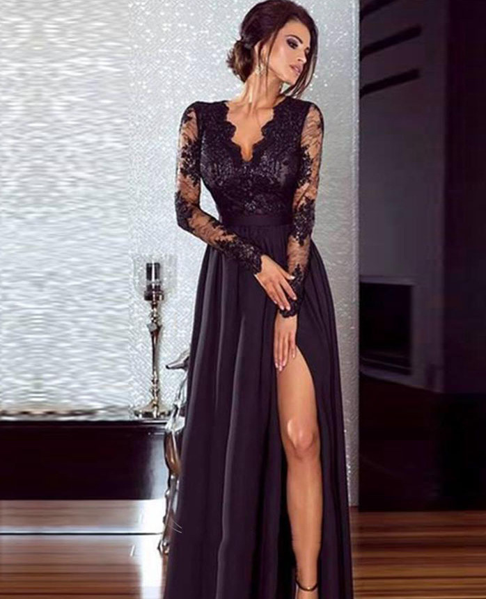 Hot Selling WOMEN'S Dress Europe And America Sexy Lace Evening Gown V-neck Long Sleeve Solid Color Swinging Skirt Ed0461