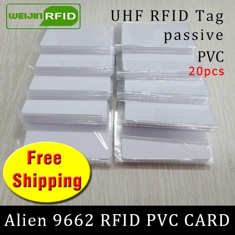 UHF RFID PVC Card Alien 9662 915m868m860-960MHZ H3 EPC 6C 20pcs Free Shipping Long Reading Distance Smart Card Passive RFID Tag