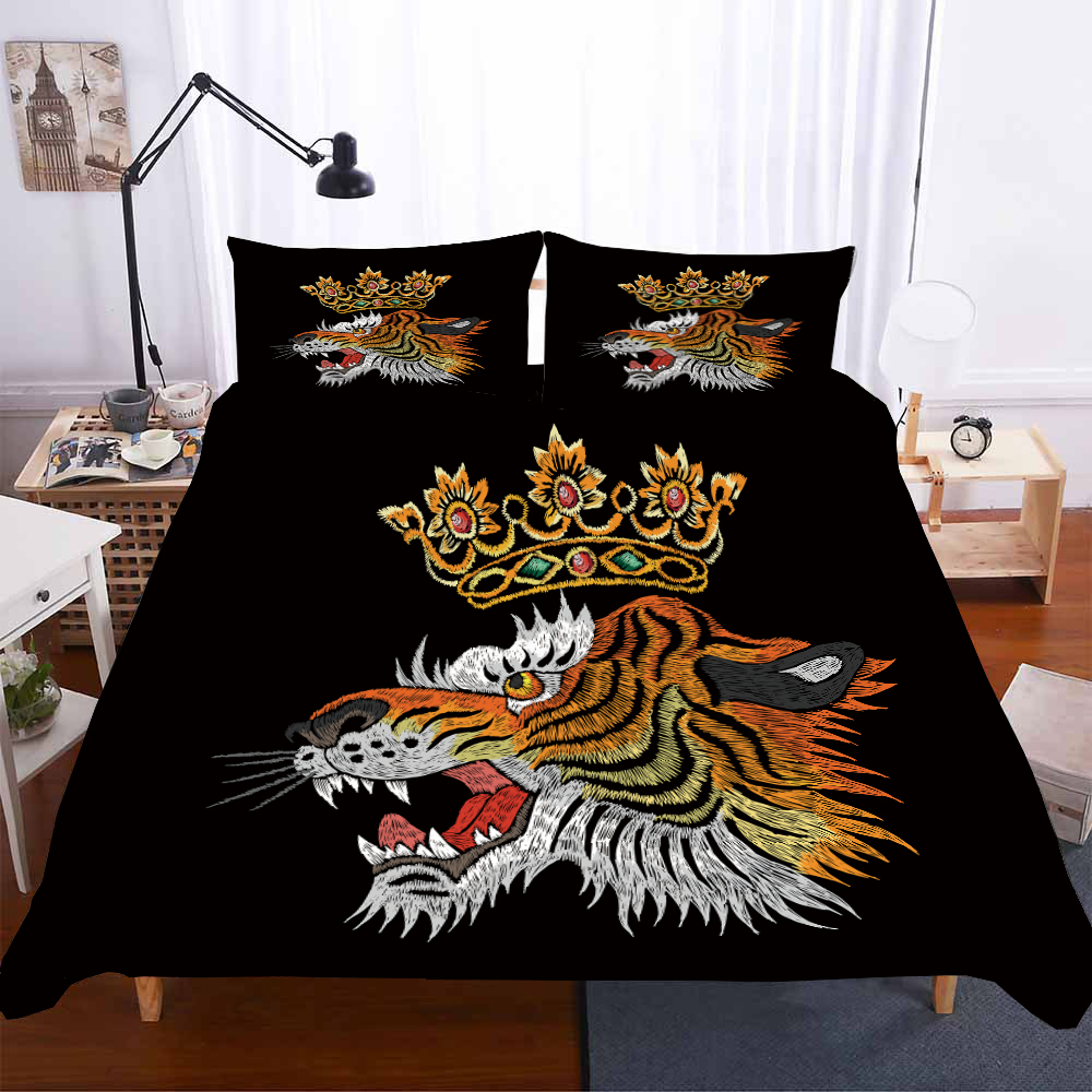 Lion King Bedding Set Black Luxury Microfiber Bed Linen Set Classic Embroidery Style Duvet Cover Set Floral Home Bedding 2/3pcs