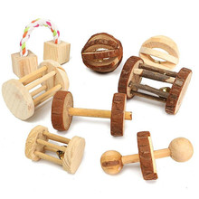 """Милые натуральные деревянные игрушки кролики сосновые гантели деревянная игрушка """"шар"""" роликовые игрушки-Жвачки для морских свинок крысы м..."""