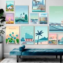 Плакаты с изображением знаменитого города из мультфильмов настенное