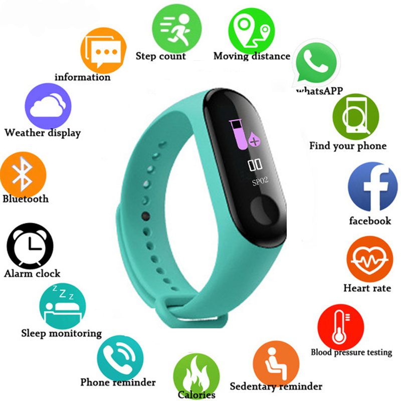 Fashion M3 Color Screen Smart Sport Fitnes Bracelet IP67 Waterproof Blood Pressure Activity Tracker For Children Men Women Watch