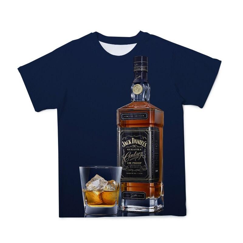 Camiseta 3D con diseño de botella de vino para hombre, ropa transpirable, Tops de moda para parejas, camisetas holgadas de manga corta más grandes, 110-6XL