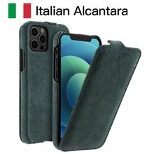 Alcantara Vertical Open Flip Phone Case For iPhone 12 Pro Max 12 Mini Luxury Business Artificial Leather Cover For iPhone 12