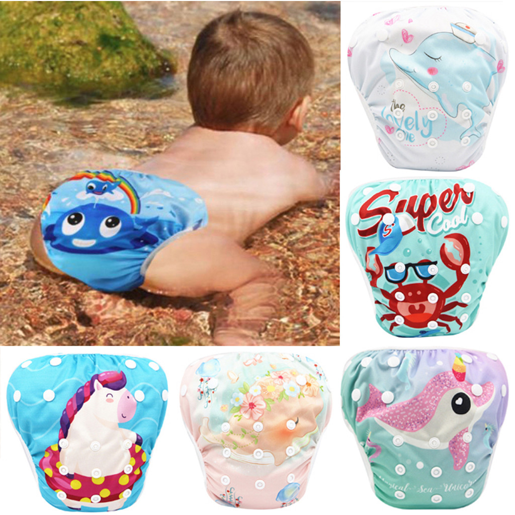 Toddler Baby Boys Girls Swim Diapers Reuseable Adjustable For Baby Swimming Lesson Infant Leak-proof Urine Swimming Trunks