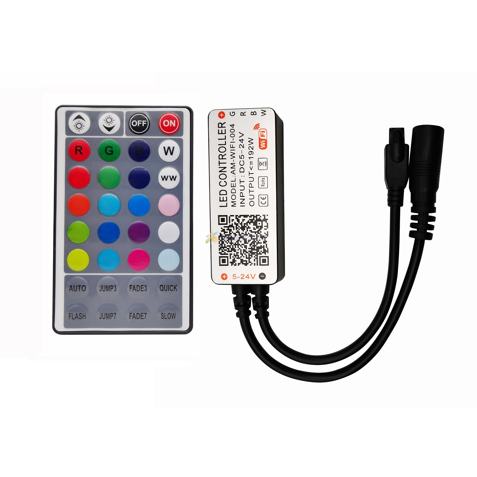 Tuya WiFi Intelligent LED Controller 4-Way RGBW Lamp Strip Controller DC 5-24V With 28keys IR Remote Control MAX 192W