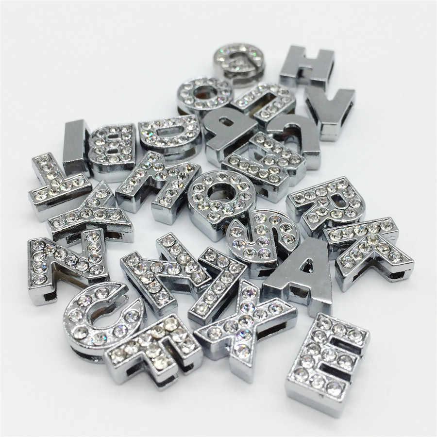 """8MM DIY כסף מלא Rhinestones שקופיות אותיות """"A-Z"""" אותיות לבחור באופן חופשי Fit 8MM DIY חגורה צמיד SL01"""