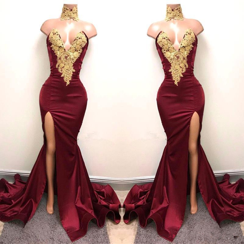 New Design 2019 Sexy Burgundy Prom Dresses with Gold Lace Appliqued Mermaid Front Split Long Party Evening Gown prom dress