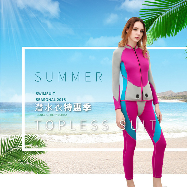 2019 New Women 3mm Diving Suit Full Body Scuba Wetsuit Surf Swimming Jumpsuit