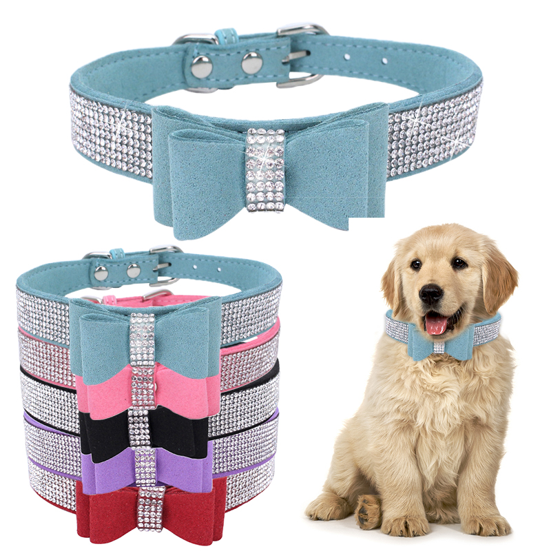 Pet Dog Supplies Adjustable PU Leather Collar Double Layer Bow Tie Dog Collar Necklace With Bling Rhinestone Collars