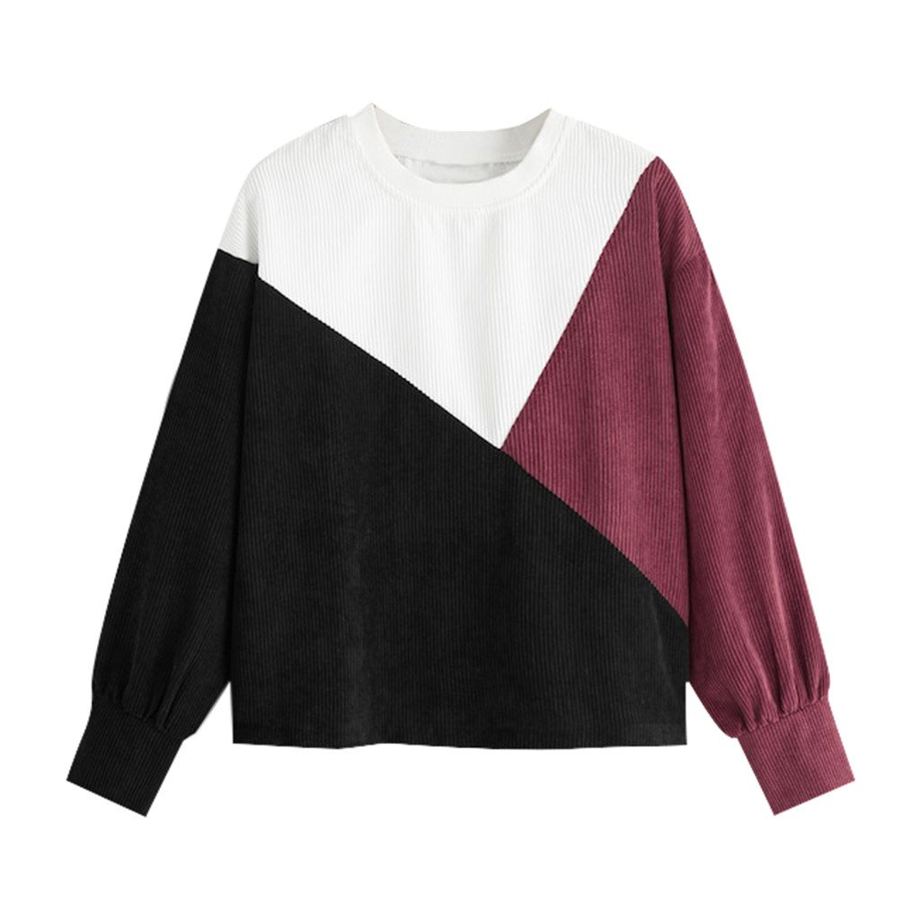 JAYCOSIN Round Neck Loose long-sleeved Corduroy Sweatshirt Stitching Casual Fashion Hot Selling Sweatshirt Daily Autumn Winter