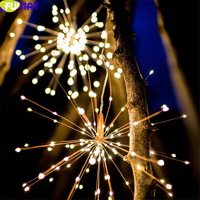 FUMAT Christmas String Lights Outdoor Decorative LED Lights Solar Fireworks Copper Wire Lamp Outdoor Yard Garland 200 LEDs Light