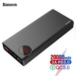 Baseus 20000 mah banco de potência usb c pd rápida carga 3.0 20000 mah powerbank para xiao mi 9 portátil carregador de bateria externa