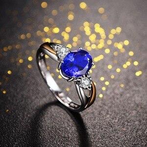 Image 4 - Cellпростые классические серебряные кольца 925 пробы, роскошные ювелирные изделия с овальным сапфиром, женский свадебный подарок с цирконием