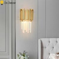 European Luxury Gold Wall Lamp Modern Crystal Wall Lamps for Living Room Bedside Decoration Indoor Lighting Bedroom Vanity Light