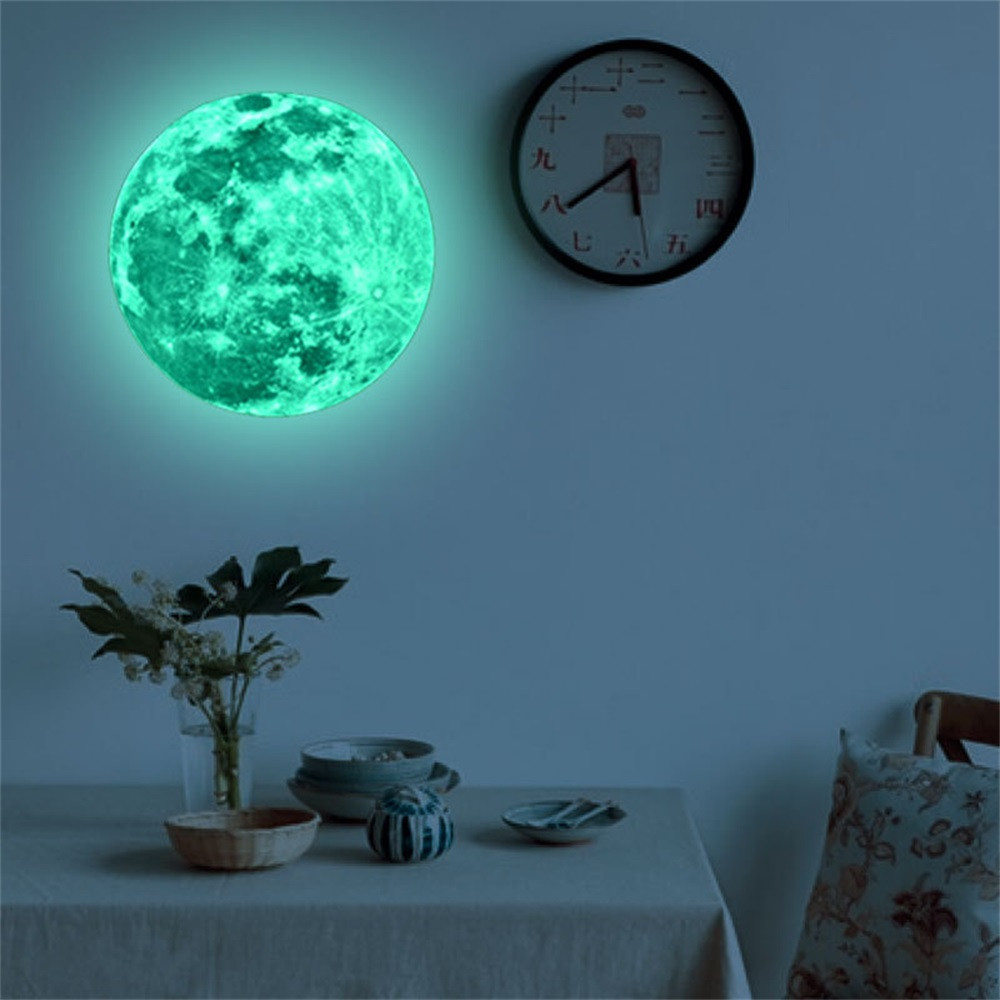 3D Large Moon Fluorescent Wall Sticker Removable Glow In The Dark Sticker Home Decor(China)