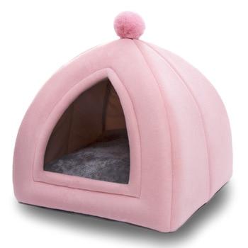 Winter Warm Pet Cat Bed House Soft Foldable Non-slip Bottom 3