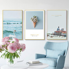 Nordic Modern Landscape Castle Swan In The Lake Picture Living Room Decorative Canvas Painting Wall Pictures for Living Room(China)