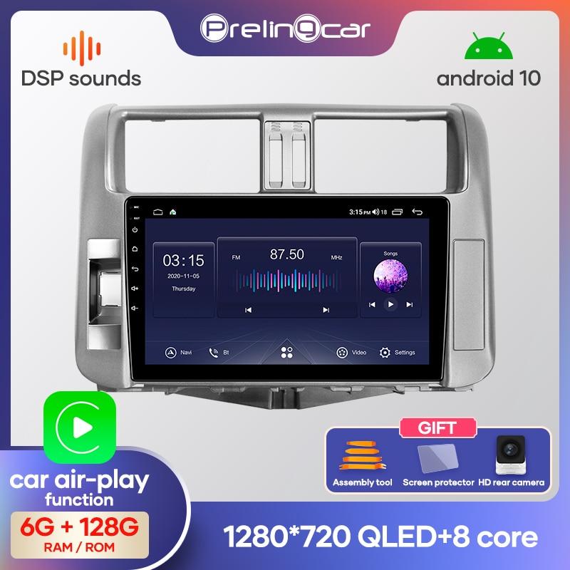 Prelingcar Android 9.0 NO DVD 2 Din Car Radio Multimedia Video Player Navigation GPS For Toyota Land Cruiser Prado 150 2009-2013
