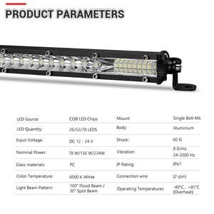 Image 2 - Супертонкая Светодиодная панель 10 20 30 дюймов, комбинированный луч, Однорядная Светодиодная панель для внедорожников, для автомобилей, грузовиков, 4x4, квадроциклов, УАЗ, внедорожников, 12 В, 24 В, лампа дальнего света
