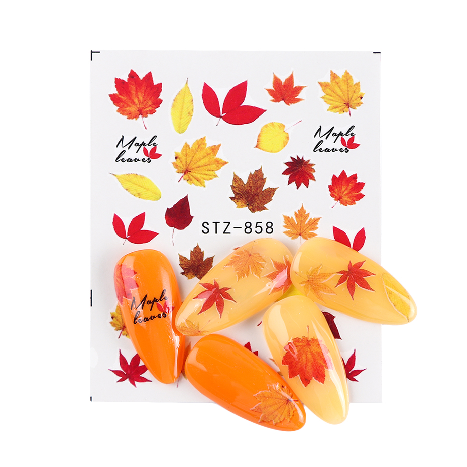 Image 4 - 1pcs Fall Leaves Nail Art Stickers Gold Yellow Maple Leaf Water Decals Sliders Foil Autumn Design For Nail Manicure TRSTZ856 859-in Stickers & Decals from Beauty & Health