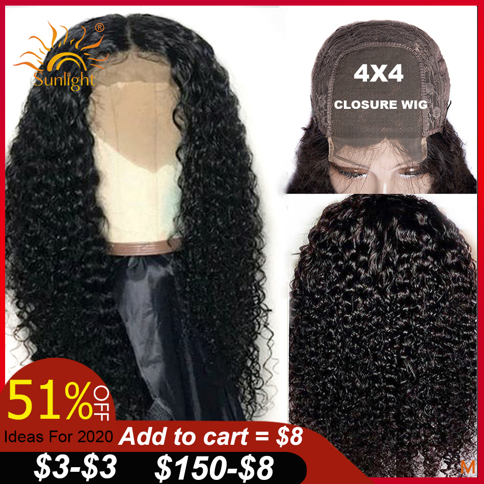 Closure Wig Lace-Wigs Human-Hair Curly Pre-Plucked Women Malaysian Sunlight Black 4x4 title=