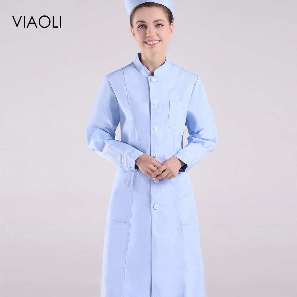 Long Sleeve Women/Men White Medical Coat Nurse Services Uniform Medical Scrub Clothes White Blue Lab Coat Hospital Clothes 2019