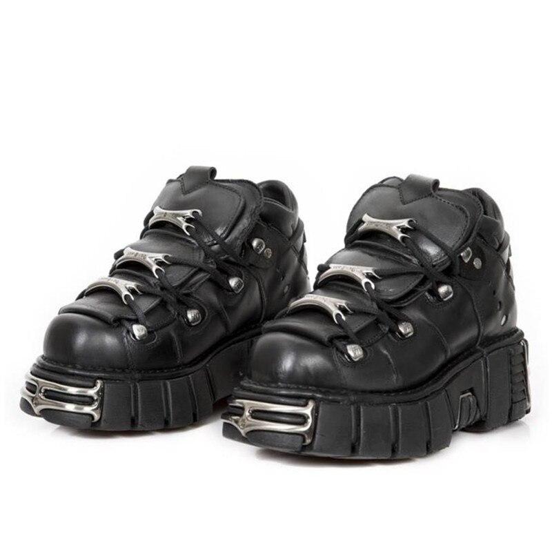 Jady Rose Style Punk Femmes Baskets à lacets 6CM Chaussures à Plateforme Femme Creepers Femme décontracté Chaussures Plates En Métal Décor Tenis Feminino