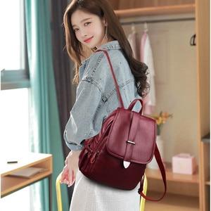 Image 2 - 2019 Women Leather Backpacks Female Travel Shoulder Bags Sac a Dos Femme Large Capacity Travel Backpack Fashion Ladies Back Pack