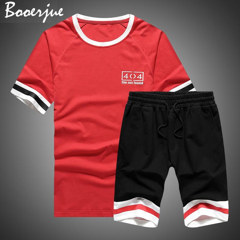 Summer Men Set 2020 Men's Tee Shirts + Shorts Short Sleeve Two Piece Tops Suit Sportswear Set Clothing Short Set Male Tracksuits