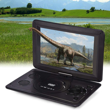 13.9inch USB LCD Swivel Screen Outdoor Rechargeable Battery Mini Home HD CD Car TV Game DVD Player Portable