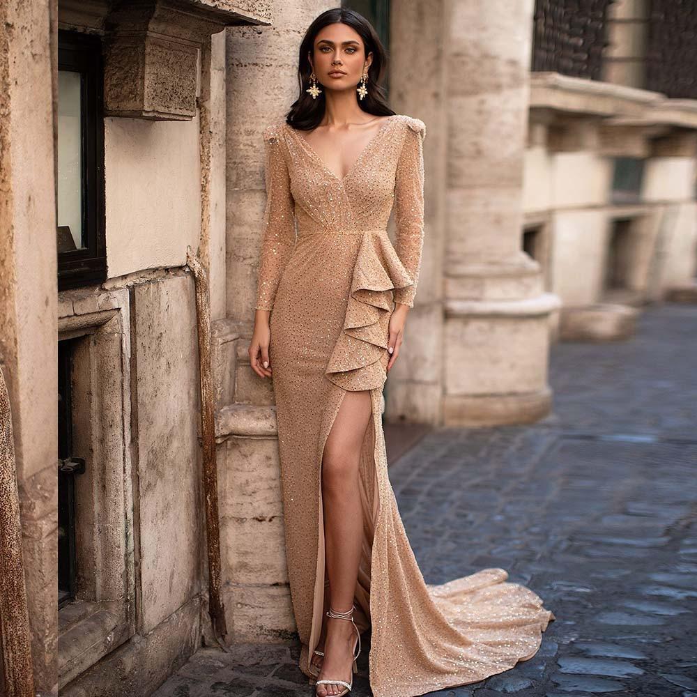 V-Neck  Mermaid Evening Dresses Long 2021 Gorgeous Sequin Side Split Prom Gowns Long Sleeves Custom Party Dress robes de soirée