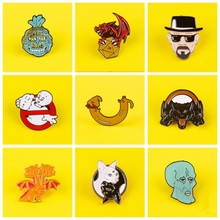 Cartoon Enamel Pins For Backpacks Breaking Bad Dragon Wave Metal Badges On Clothes Lapel Pin Bags Badge Gifts Badge For Clothes
