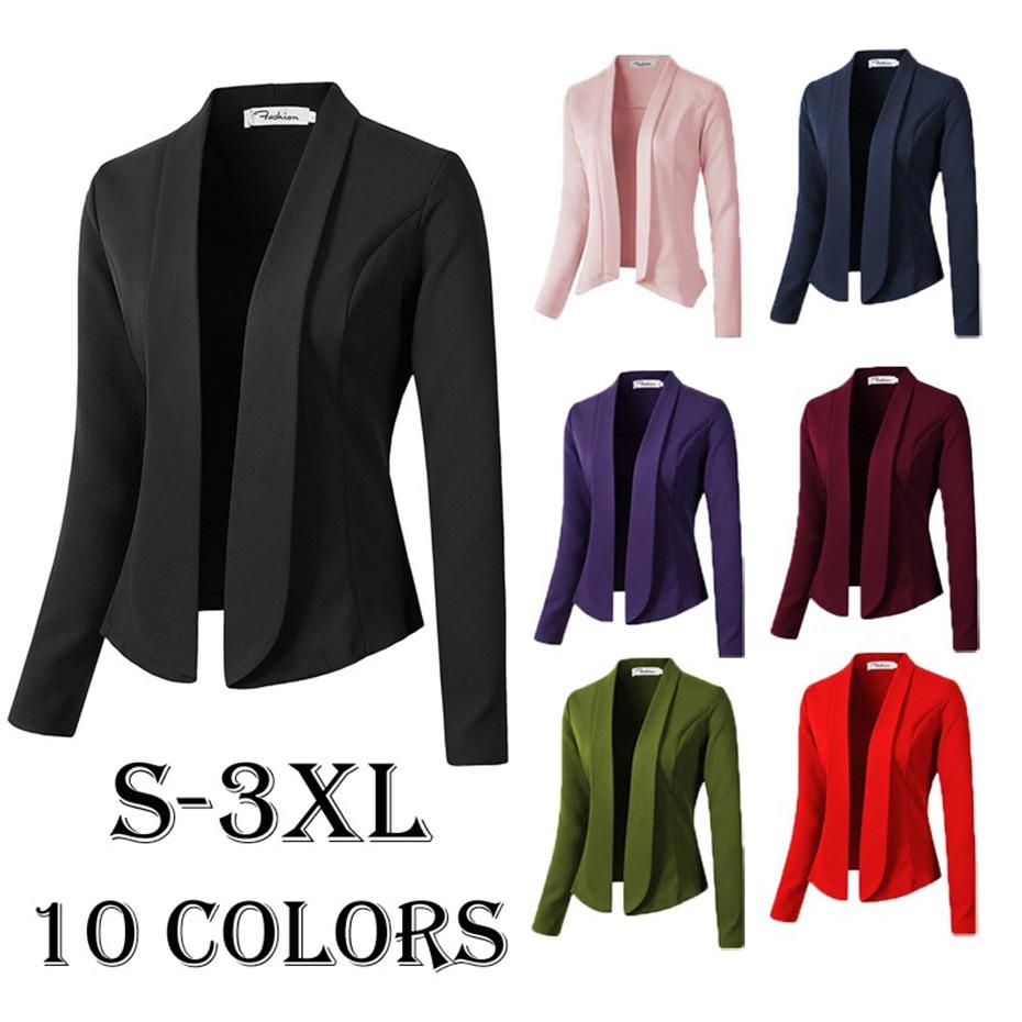 Vogue Spring Autumn Womens Fashion Blazers And Jackets Plus Size Blazer Feminino Long Sleeve Notched Causal Slim Fit Women Coat