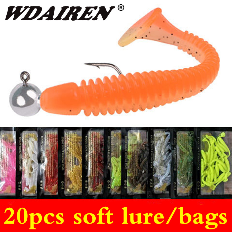 20pcs/lot Worm Soft T Tail Bait 48mm 0.8g Jigging Wobblers Pike Bass Baits All For Fishing Lures Accessory Rubber Bait Pesca