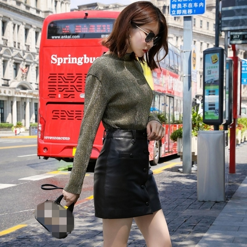 Autumn Winter New Real Leather Sexy Mini Skirts Office Lady Single Breasted Sheepskin High Waist Work A-Line Skirts Women