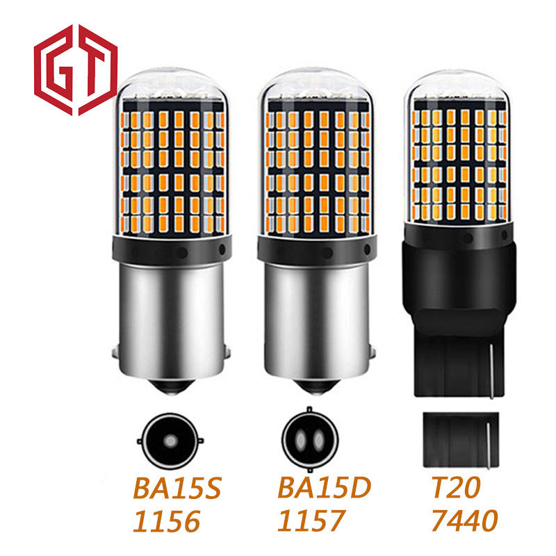 GUANGJI 2pcs p21w py21w BAU15S <font><b>T20</b></font> <font><b>W21W</b></font> W21/5W 7440 S25 1156 BA15S LED Bulbs 3014 144smd Car Turn Signal Light lamps image