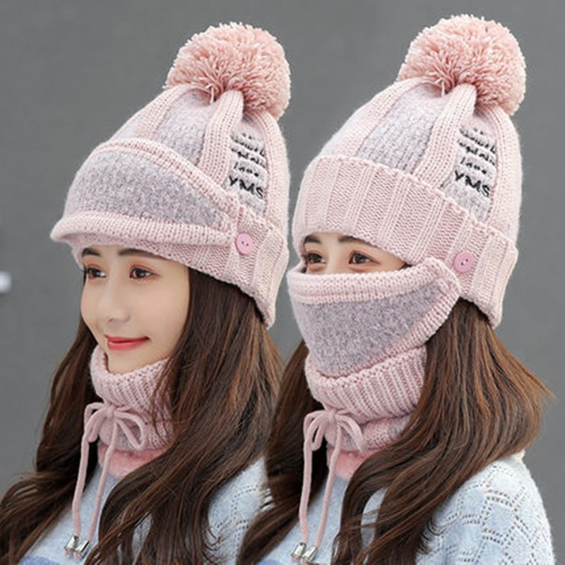 Winter Hats Women Winter Knit Beanies Hat with Bib and Mask Female Ear Protection Skullies Hat Warm Velvet Thick Riding Wool Cap